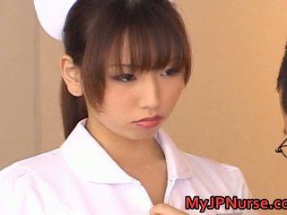 Ai Sayama Appealing Asian Nurse Exhibits Off Her Jugs