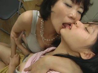 japonais, lesbiennes, culotte, mature