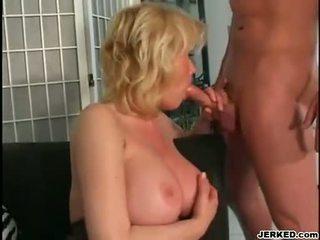 busty blonde mom Carolyn Monroe enjoys a meaty stick screwing in her warm mouth