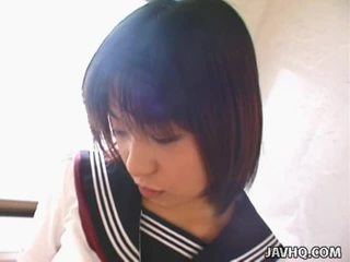 Youthful Japanese Schoolgirl Gives Her 1st Blowjob