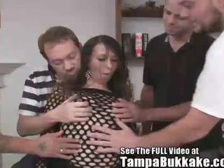 Hottie Melinda Gets a Tampa Bukkake!