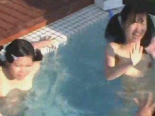 japanse, meisjes, meer shave video-