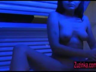 Sexy Zuzinka and hidden camera at the solarium