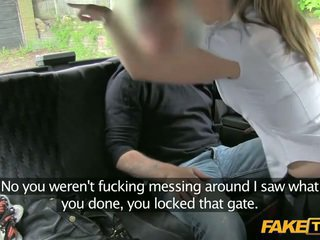 Off duty police woman enters a fake taxi
