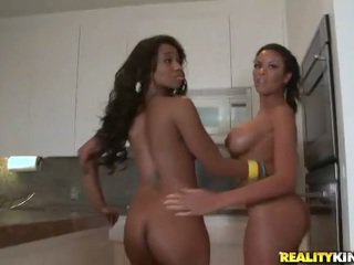 2 hot ebony chicks Jade and Sky get a dick