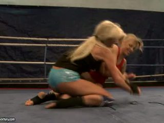 Laura crystal and michelle soaked cat fight in ring