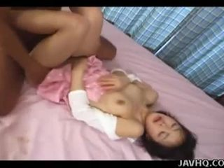 Cute japanese schoolgirl gets asian hairy pussy abused