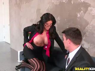 nice glasses, big tits, stockings