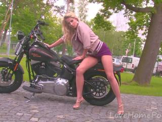 Amazing Blonde Babe Loves Her New Bike, Porn 62
