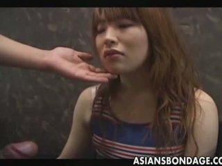 Collared Japanese Gives Deep Throat Blowjob