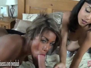 POV bgg threesome babes suck and fuck big cock pussy licking and cum on tit