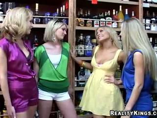 3 blonde lesbians pick up an another blonde forsex