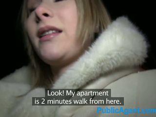 Publicagent 美麗 金發 fucks 大 公雞 在 旅館 室