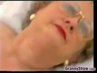 Chubby Granny With Glasses Masturbates