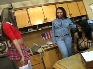 Young Ebony lesbain job audition interview fucked and licked