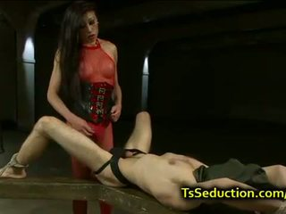 Tranny ties guy up and cums on his face