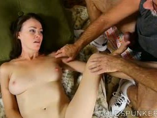 Super Horny Old Spunker Sucks Cock While Fucking Her.