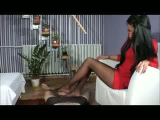 zien voet fetish neuken, nylon scène, ballbusting video-