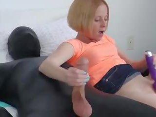 Tiny Blonde Babe Jerks Latex Mans Big Cock: Free HD Porn 1f