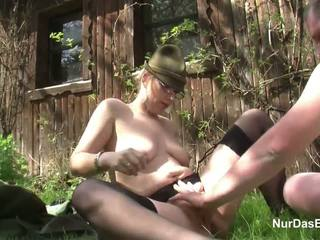 German MILF Seduce to Fuck outdoor in Forest by ugly Man