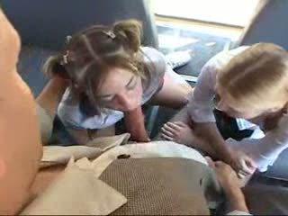 Schoolgirl Sluts Giving Schoolbus Blowjobs