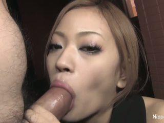 Scandalous little slut sucks cock and plays with the cum