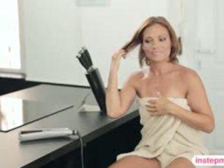 kwaliteit brunette scène, heet pijpbeurt, drietal scène