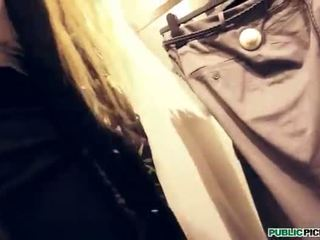 Eurobabe in clothing store banged nicely