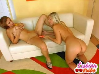 Hot lesbians sluts put dildo in their bokong for some silit pleasure