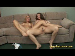 Amazing lesbian sex on the massage table