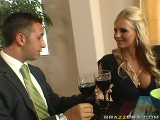 Amazing busty blonde wife with big ass gets asshole toyied with a glass dildo
