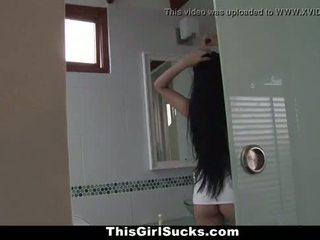 ThisGirlSucks - BraceFaced Latina Sucks Big Cock