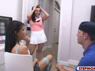 Latina Teen Veronica Rodriguez Threesome With Her Stepmom
