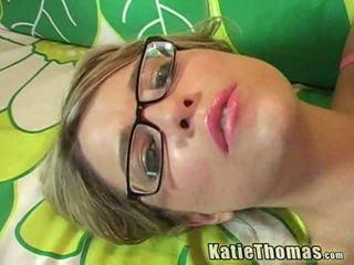 Brunette Katie gets a huge snake