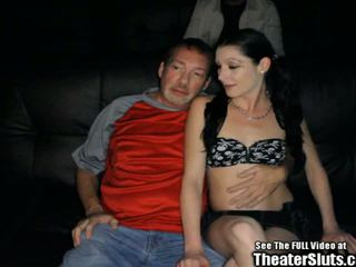 Pale Petite Anal Whore Gang Fucked in Porno Theater.