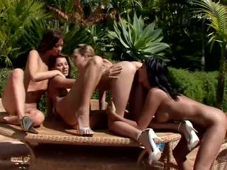 Cute lesbians licking and fingering pussy in a great four way lesbian orgy