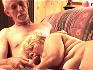 Fat Granny Sucking Her Skinny Husband's Cock