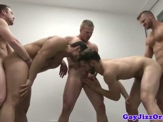 Close up orgy climax with Liam Magnuson