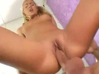 Sexy blonde nympo Bianca Pureheart slammed with thick cock deep in pink pit