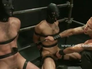 Leather covers strong gay master body