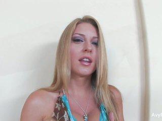 Busty babe Avy Scott toys her tight pussy