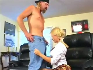 Angelic blonde teen with braids gets her shaved hair pie licked