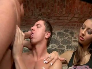 Crazy sex scene with bisexual guys and chick