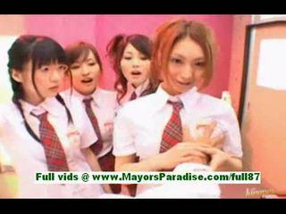 Young horny asian schoolgirls in the locker room
