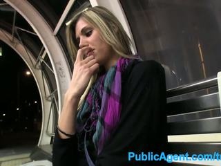 PublicAgent Hot tall babe spreads her legs for cash in public
