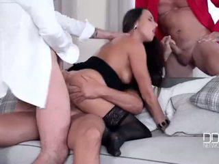 Hot Czech Chick Gets a Triple Dick Treatment