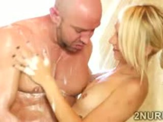 Beautiful Blondie Prepares A Client With A Fresh Shower