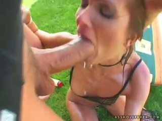 Horny babe Angela Winters takes a massive cock entering her tight mouth