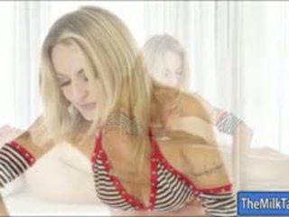 Superb Blondie Slut Natasha Starr Milking Under The Table