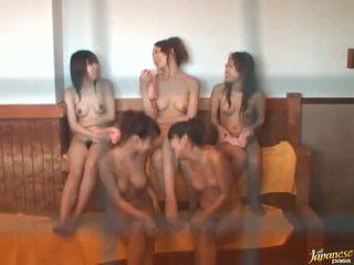 Japanese milfs is relaxing in public bath